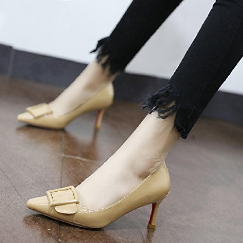 Xue Qiqi Pumps Farbe wilde Frauen Frauen Frauen Schuhe zu binden bemalte Leder Einzel Schuhe Frauen Schuhe mit hohen Absätzen fein mit, 36, Beige  725fea