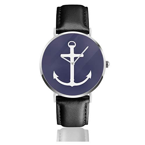 Reloj de Pulsera de Acero Inoxidable con diseño de Anclas Azules, Color Blanco y Azul Marino