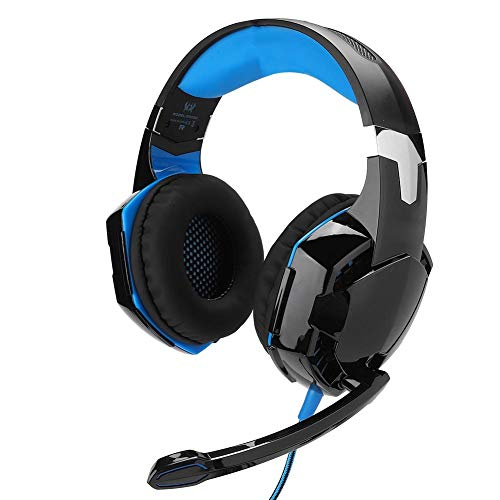 VBESTLIFE Gaming-Headset Kabelgebundene Beleuchtung Kopfhörer Modische Form Kopfhörer Metallstruktur mit geräuschunterdrückendem Mikrofon für PC-Computerspiel(Schwarz + Blau)