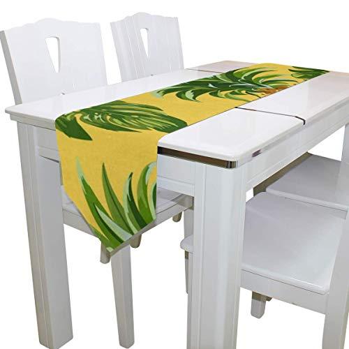 N/A Eettafel Runner Of Dresser Sjaal, Dennen Tropische Bladeren Deck Tafelkleed Runner Koffie Mat voor Bruiloft Partij Banket Decoratie 13x90IN