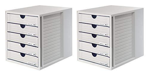 HAN Schubladenbox SYSTEMBOX 1450-11 in grau – Ordnungsbox DIN A4 – Aufbewahrungsbox mit geschlossenen Schubladen 2er Set