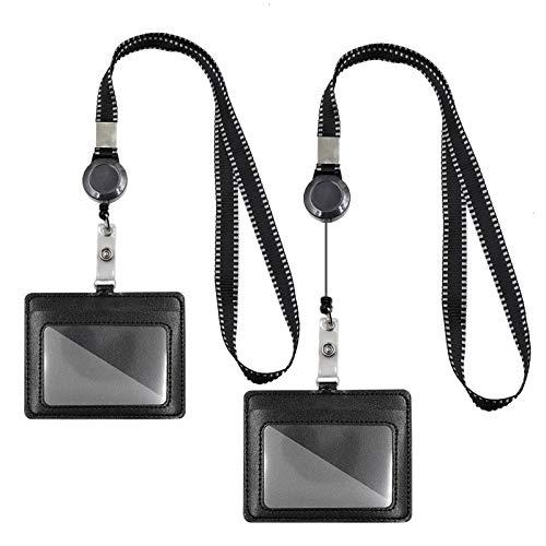 Mczcent 2 Porta Tarjetas Identificativas con Llavero Retráctiles, ID Card Badges Holder Extensible con Neck Lanyard Strap, Horizontal Portatarjetas Retractil con Llaves Cuello Cordón Nylon, Negro