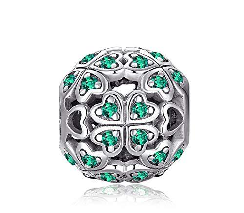 FeatherWish Charm-Anhänger Sterling-Silber 925 vierblättriges Kleeblatt mit Herzen und grünem Zirkonia für Pandora-Armband