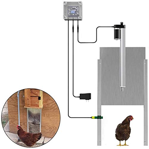 AOUSTHOP Automatic Chicken Coop Door Opener Kits, Timing Auto Guard Door,with in-fra-red Sensor, Prevent Chicken from Being Crushed,for Poultry Duck Small Farm Animal (Timing)
