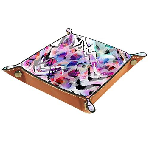 Catchall Tray Desk Organizer Valet Tray für Herren Damen Schlüsselablage für Tischmünze Aufräumen für das Büro zu Hause Kunst abstrakte Zebra-Pfau-Fliese