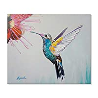 7 Fision Art 手書き油絵 カラフル鳥 水彩画 動物 キャンバス絵画 モダンアート バスルーム ダイニングルーム 装飾 60*50cm