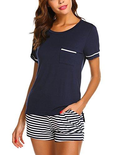 UNibelle Damen Pyjama Zweiteiliger Schlafanzug aus Baumwolle Kurz Nachtwäsche Kurzarm Nachthemd Hausanzug mit Rundhals-Ausschnitt für Sommer mit Gr. S-XXL