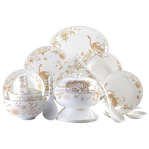 ASYCAN 50 Piezas de Oro Blanco y Porcelana de Hueso de vajilla Tableros Galería de Relieve óseo Porcelana Blanca Ronda vajilla Servicio de Recogida de 10 (Size : 50pcs)