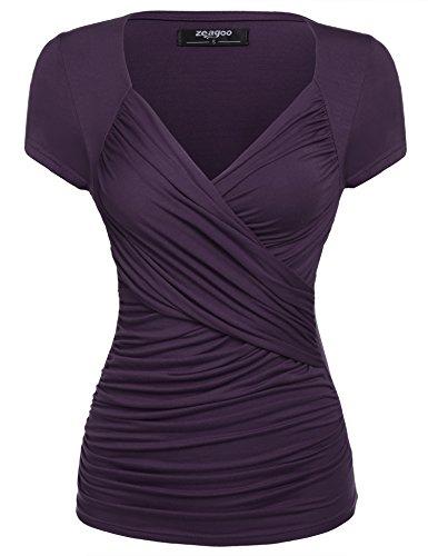 Zeagoo Damen Sommer Sexy T-Shirt V-Ausschnitt Kurzarm Tunika Shirt mit Falten Blusen Oberteile, 1_lila, XXL