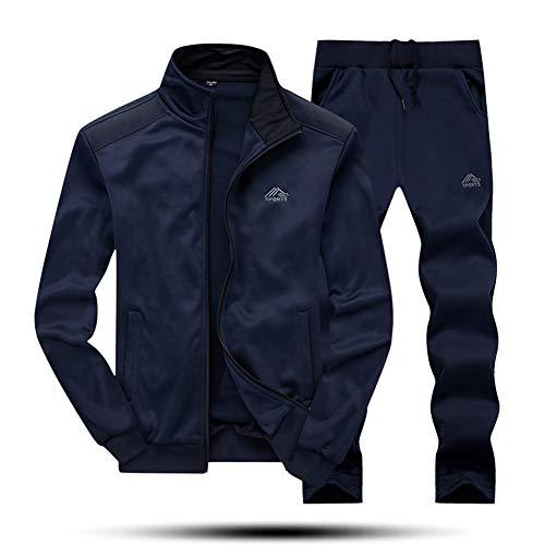 Wohthops ランニングウェア セット メンズ ジャケット 保温 暖パン アウトドアウェア 上下 長ズボン 防風 防寒 カジュアルパッツ ブルー L