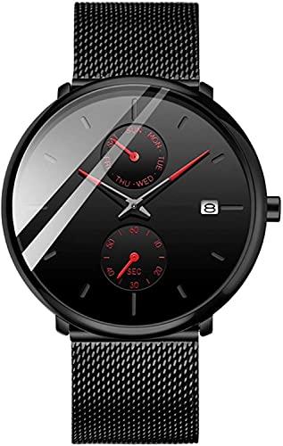 QHG Relojes de la Pareja Relojes de Pulsera de Cuarzo Banda de Malla de Acero Inoxidable 30m Impermeable a Prueba de Agua para los Regalos de los Amores (Rojo)