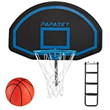 PAPAJET Trampoline Basketball Hoop&Wide 3-Step Ladder Combination with Pump and Ball, Universal&Fit Accessory for Most Trampolines