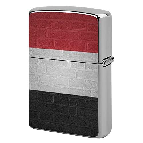 Unisex-Feuerzeuggehäuse aus Metall, personalisierbar, perfekt für Zigaretten, Zigarren, Kerzen, Flagge von Jemen