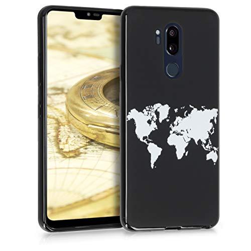 kwmobile Hülle kompatibel mit LG G7 ThinQ/Fit/One - Hülle Handy - Handyhülle - Travel Umriss Weiß Schwarz