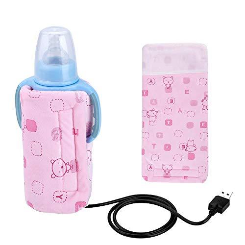 Elektronische babyflessenwarmer met warmte-isolatiezakje, thermostaat met ritssluiting, afneembare draagbare melkkachelverwarming, verwarming met constante roze.
