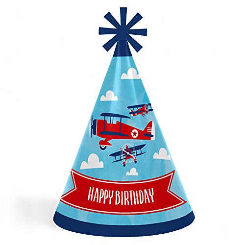 Lowest Price! Taking Flight - Airplane - Cone Happy Birthday Party Hats for Kids and Adults - Set of...