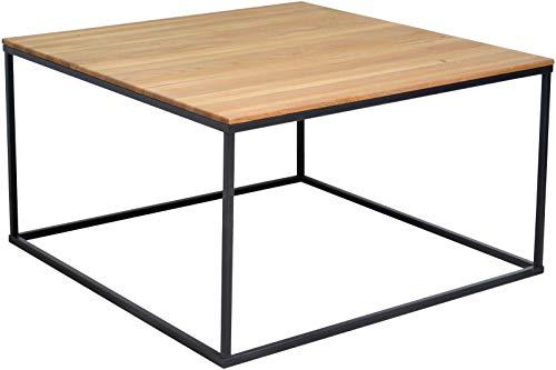 SAM Couchtisch 80x80cm Florea, Wildeiche massiv + geölt, Sofatisch mit schwarzem Metallgestell, modernes Industrial-Design