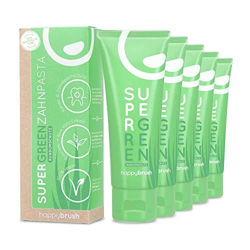 happybrush® Aloe Vera Zahnpasta Vegan | Natürliche Zahncreme für Frischen Atem & Rundumschutz | SuperGreen Zahnpasta mit Aloe-Vera Wirkstoff (5 Stück 75ml)
