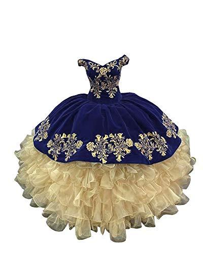 Gold Embellished Ruffled Organza Velvet Quinceanera Prom Formal Dresses Off Shoulders Corset Navy 8