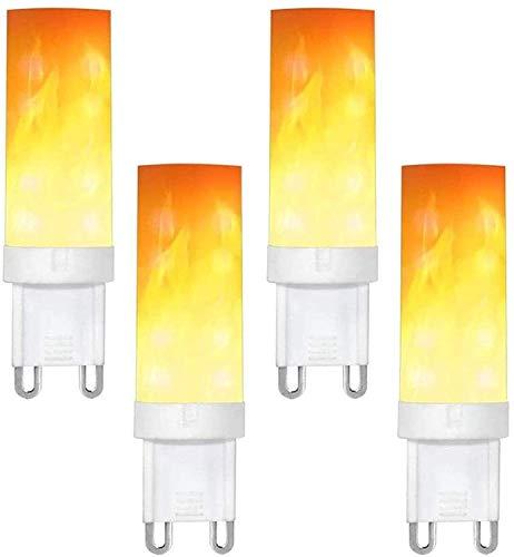 ADLOASHLOU Flammen Glühbirne G9 3W LED Flamme Effekt Glühlampen Dekorative Innenglühlampen 2835 SMD Flackernde LED-Glühbirnen mit Feuereffekt für Haus Garten Party 4pieces