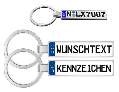 Llavero Personalizado para Coche, matrícula de Coche, matrícula Personalizable, Texto Personalizable, para Audi, BMW, Mercedes, VW, Opel, Skoda, Mazda, Ford, Porsche