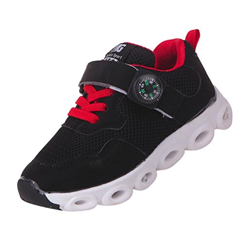 KONFA Teen Baby Boys Girls Mesh Running Sneakers,for 0.5-6 Years old,Kids Light Up Breathable Sport Shoes (Black, 5-5.5 Years old)