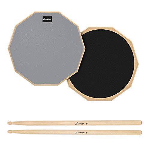Donner ドラム練習パッド トレーニングドラム ゴム製 ドラムスティック付 消音 (12インチ)