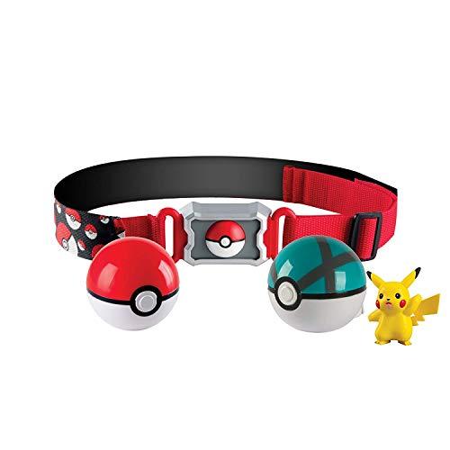 Pokémon Clip and Carry Poké Ball Adjustable Belt with 2 inch Pikachu Figure, Poké Ball, and Grass Type Nest Ball - Assorted colors