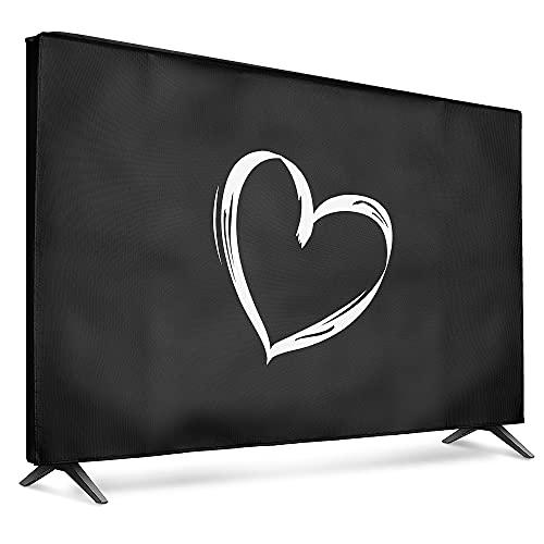 """kwmobile Funda para Monitor 55"""" TV - Cubierta Protectora Dibujo de corazón en Blanco/Negro"""