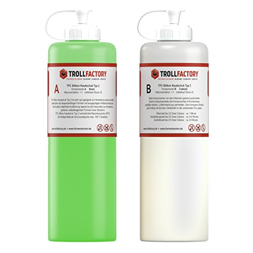 TFC Silikon Kautschuk Typ 2 I Premium Dubliersilikon I mittelhart, 1 kg (2 x 500 g)