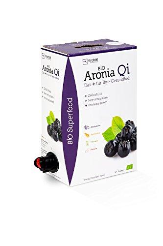 FITRABBIT BIO Aronia Qi [3 L Bag in Box] - 50 Portionen - Guter Geschmack - Für Immunsystem, Zellschutz & Nervensystem - Aronia Direktsaft mit Topinambur, 7 Kräuter und Acerola