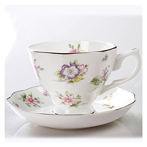 Essinged Hueso China Tazas de café Platos Eleware Europeo Estilo Pastoral Europeo Impresión Floral Tarde Conjunto de té de Porcelana Tazas y Placas 170ml (Color : 5)