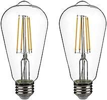 Yueximei ST64 Dusk to Dawn Light Sensor LED Bulb, Filament Lamp, 6W 60W Equivalent, E26 5000K, 650 Lumens, Auto On/Off,...