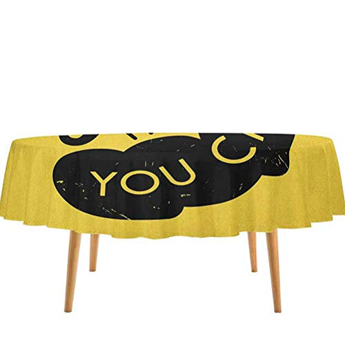 prunushome Fitness Table Cloth Cover Strong Arm with Text Yes You Can Hand Drawn Vintage Grunge Positive Approach Machine Washable Yellow Black (70' Round)