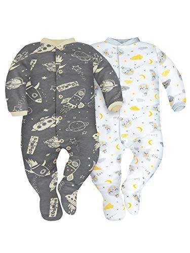 Sibinulo Niño Niña Pijama Bebé Pelele de ABS Pack de 2 Cosmos y Lunas 92(18-24 Meses)