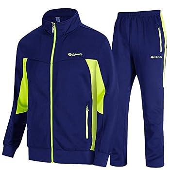 TBMPOY Men s Outdoor Performance Regular Fit Suit Sweat Warm Up Pants Royal Blue/Green,US XXL