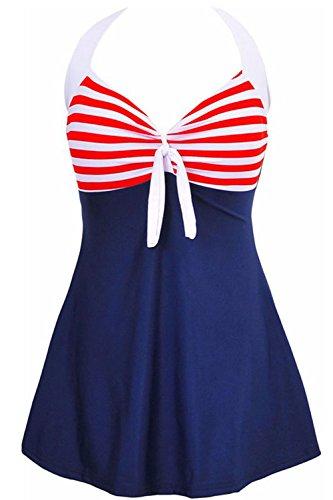AMAGGIGO Amenxi Damen Kirschen Cherry/Blau-Weiß Einteiliger Spitze Figuroptimizer Sportlich Neckholder Retro Vintage Damen Badeanzug (Red, EU 46-48)