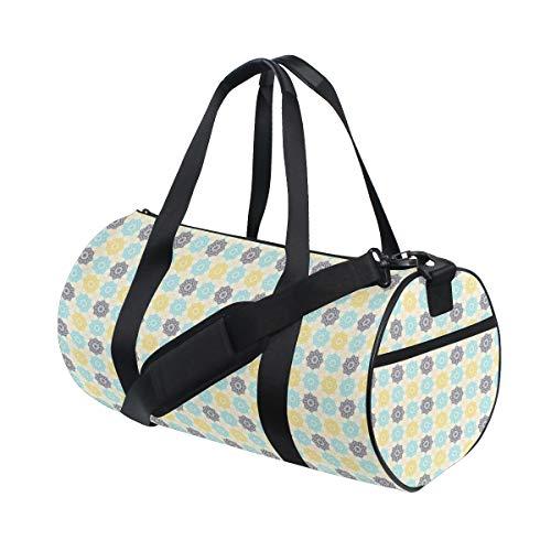 PONIKUCY Sporttasche Reisetasche,Marokkanischer Henna Kunst Retro Volksdruck,Schultergurt Handgepäck für Übernachtung Reisen