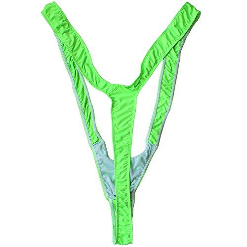 YiZYiF Déguisement Borat Fête Homme String Mankini Adults Lingerie (Vert Fluo)