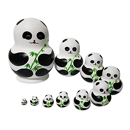 Easy-topbuy 10 Stück/Set Russische Matroschka Puppe Schöne Panda Nesting Dolls Handgemachte Gemalte Russische Puppen des Basswood Für Kinder