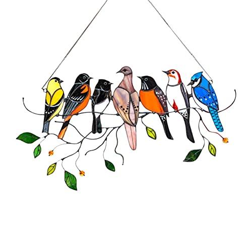 ZMLZSFYS Multicolor-Vögel, mehrfarbige Vögel auf einem Draht, Anhänger, der an Fenstertüren Home Decoration, Vogelliebhaber hängt.