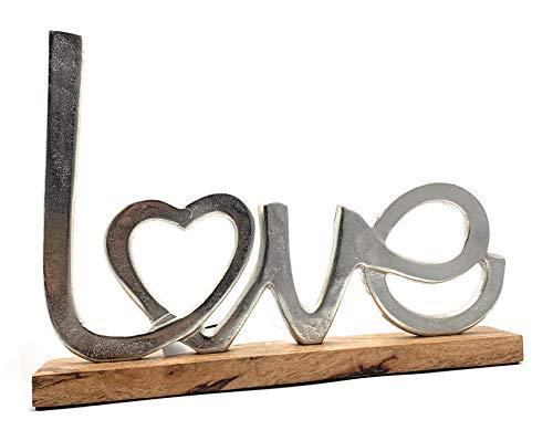 Moderner Schriftzug Aufsteller LIEBE silber auf Mangoholz 41x5x29 cm