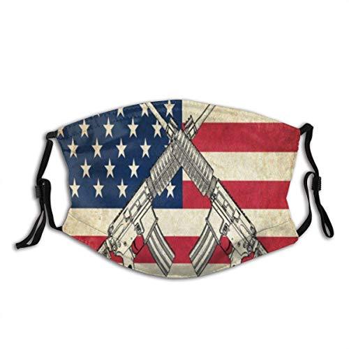 Mundschutz Amerikanische Flagge westliche Kultur Vintage Flagge mit Waffen Usa waschbare und Wiederverwendbare Gesichtsbedeckung mit Filter