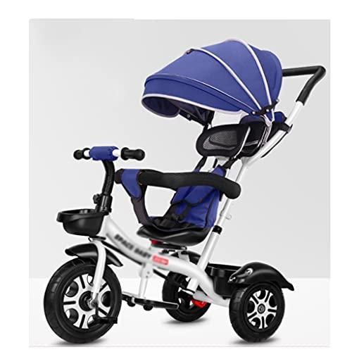 QIFFIY Sillas de Paseo Cochecito Triciclo 1-5 años de Edad Bicicleta bebé cochecitos Infantil Bicicleta niño Cochecito bebé Carro de bebé Coche Cochecito (Color : Navy Blue (Flagship Style))