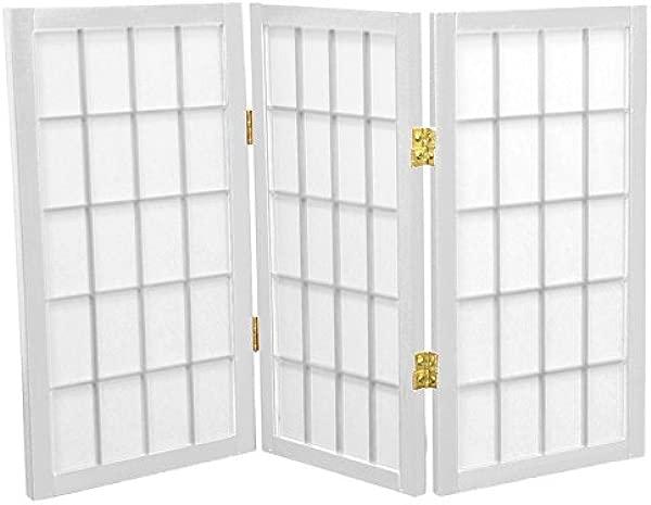 Oriental Furniture 2 Ft Tall Desktop Window Pane Shoji Screen White 3 Panels