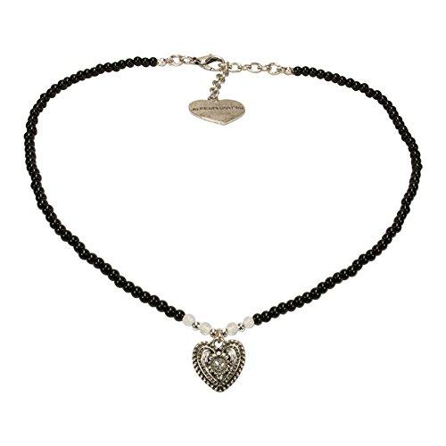Alpenflüstern Filigran Perlen-Trachtenkette Trachtenherz - Damen-Trachtenschmuck mit antik-Silber-farbenem Strass-Herz, Dirndlkette schwarz DHK205