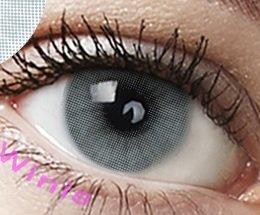 """Farbige Kontaktlinsen 3 Monatslinsen hellgrau grau\""""Pony Gray\"""" gute Deckkraft ohne Stärke mit Aufbewahrungsbehälter"""
