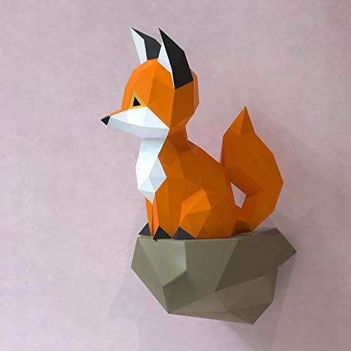 LYEC3 DIY Origami 3D Geometric Fox Paper Art Model Cute Animal Decoración de Pared Tridimensional Hecho a Mano Juegos de Rompecabezas Sala de Estar Entrada Decoración del hogar