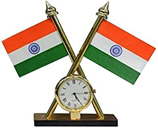 SHUVRA Indian Flag with Quartz Watch for All Cars
