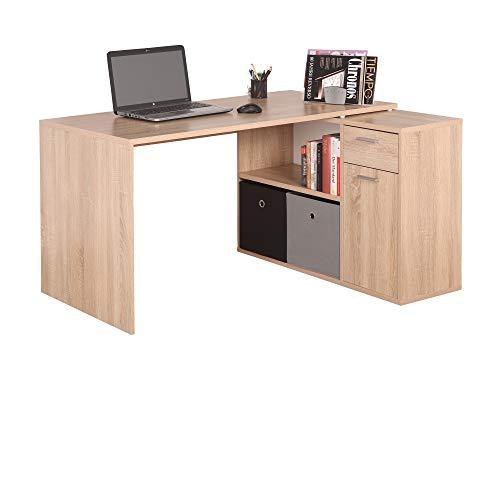 RICOO WM083-ES Escritorio esquinero Mesa Ordenador Esquina Organizador Oficina Muebles de hogar Buro rinconera PC Gaming Madera Roble Marron